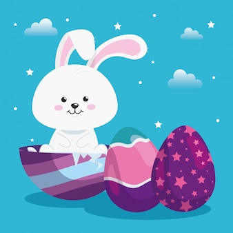 Lindo conejo con huevos pascua decorado ilustración vectorial diseño