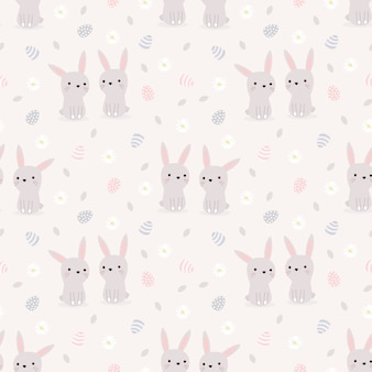 Lindo conejo y huevos de pascua de patrones sin fisuras.