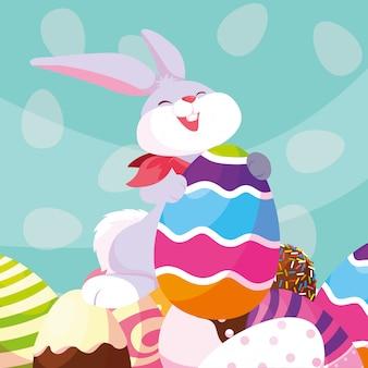 Lindo conejo con huevos de pascua