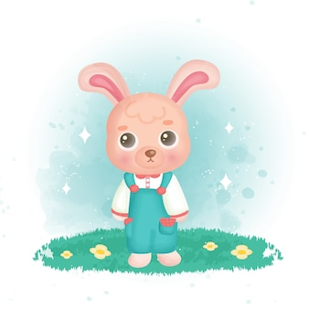 Lindo conejo en el jardín.