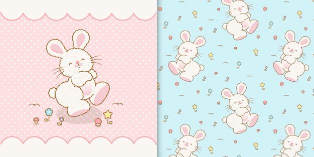 Lindo conejo kawaii con patrones transparentes sin fisuras