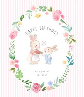 Lindo conejo madre e hijo en círculo flores marco ilustración