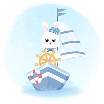 Lindo conejo marinero conduciendo barco dibujado a mano ilustración acuarela