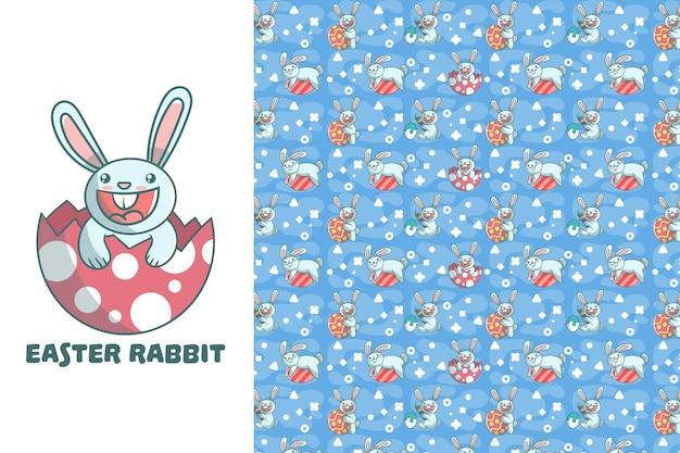 Lindo conejo de pascua de patrones sin fisuras