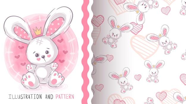 Lindo conejo de peluche - patrones sin fisuras