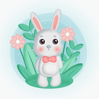 Lindo conejo de pie en el jardín de flores.