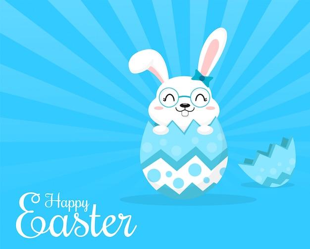 El lindo conejo que sale de los huevos de pascua.