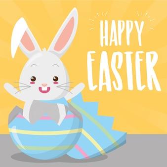 Lindo conejo saliendo huevo de pascua