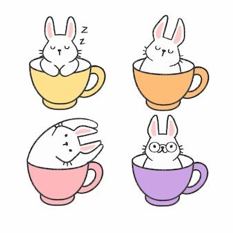 Lindo conejo en una taza de té dibujado a mano colección de dibujos animados