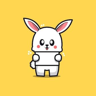 Lindo conejo con texto en blanco
