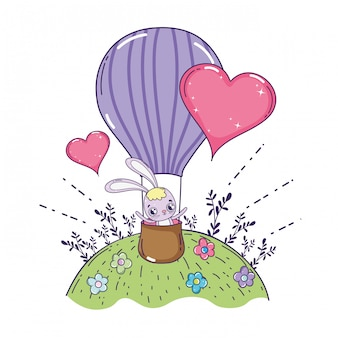 Lindo conejo volando en globo aire día de san valentín caliente