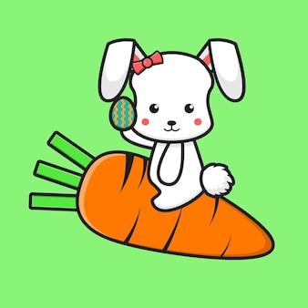 Lindo conejo volando con zanahoria y sosteniendo huevo ilustración de dibujos animados concepto de icono del día de pascua