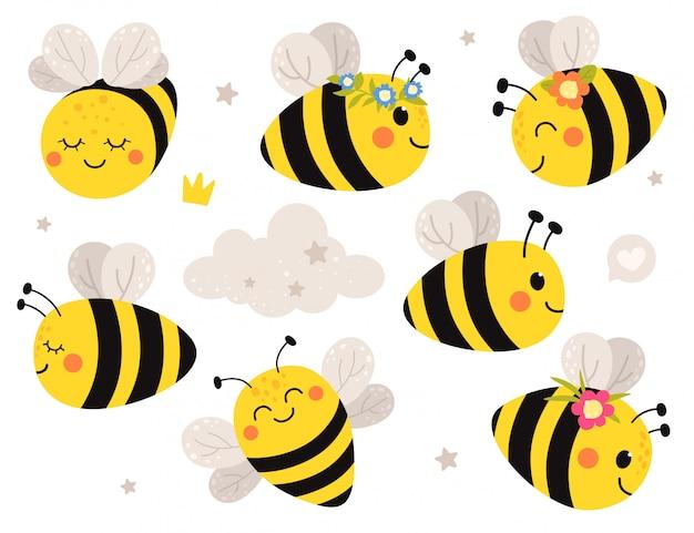 Lindo conjunto con abejas. aisla sobre un fondo blanco en estilo plano de dibujos animados.