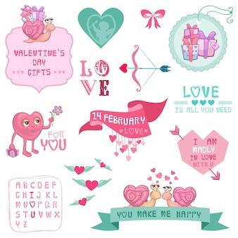 Lindo conjunto de amor y día de san valentín