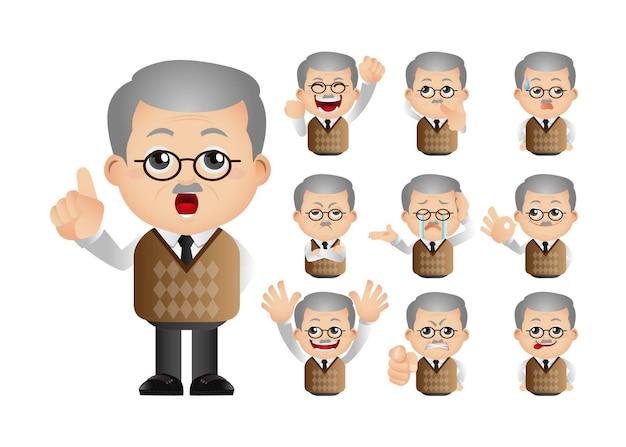 Lindo conjunto de anciano