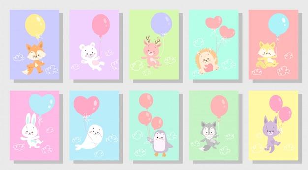 Lindo conjunto de animales feliz