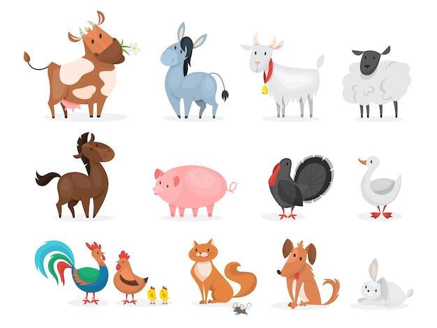 Lindo conjunto de animales de granja. cabra, vaca, barco