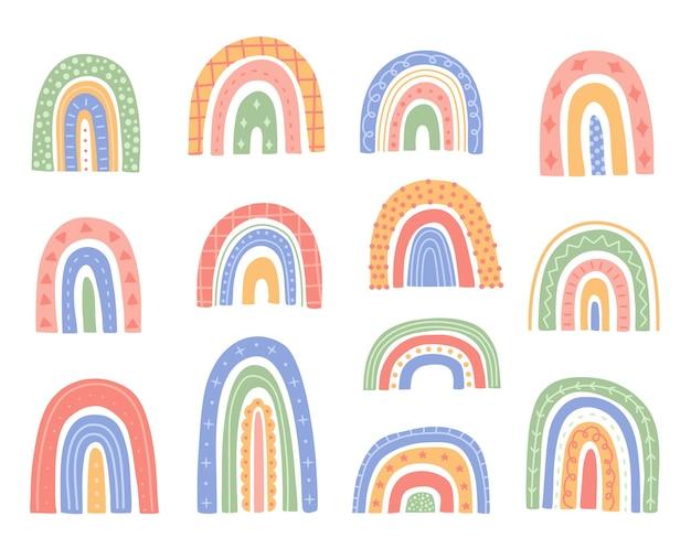 Lindo conjunto de arco iris, formas abstractas con adornos, elementos dibujados a mano en el moderno y moderno estilo de dibujos animados del doodle. clip art escandinavo minimalista. colección de ilustración vectorial aislado fondo blanco.