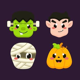 Lindo conjunto de avatar de halloween