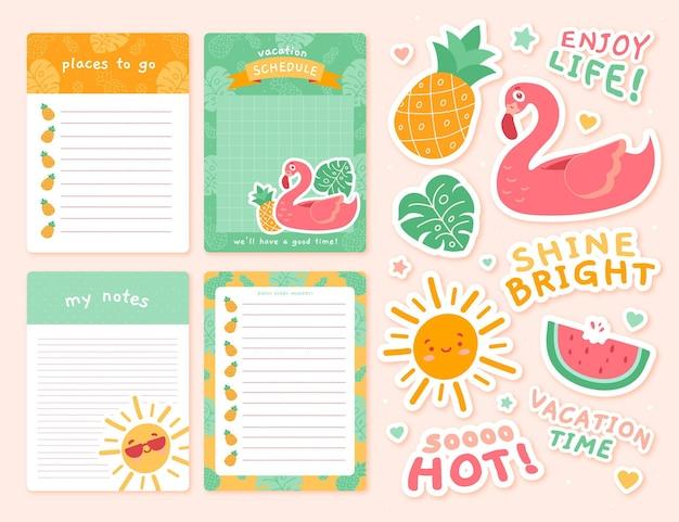 Lindo conjunto de bloc de notas de planificador