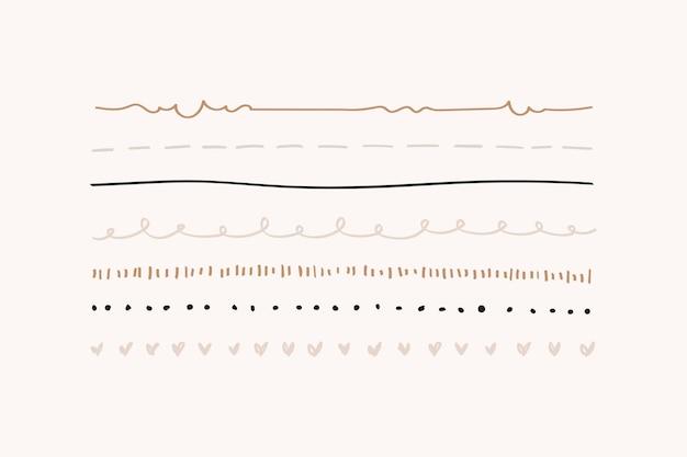 Lindo conjunto de borde de línea doodle