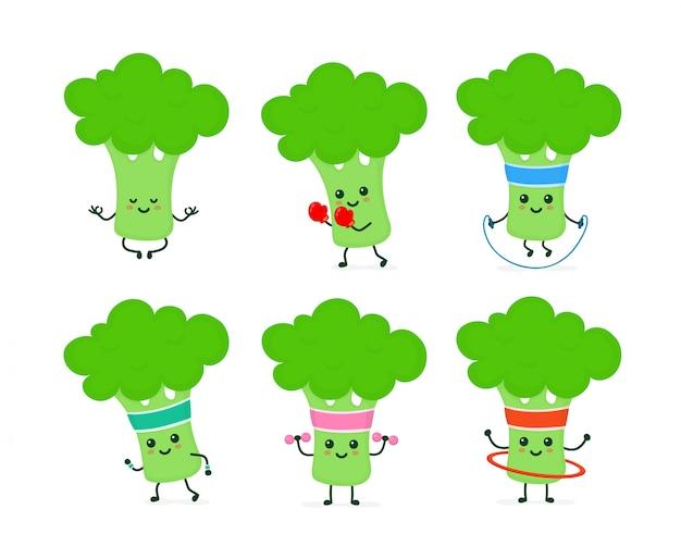 Lindo conjunto de brócoli fuerte feliz sonriente