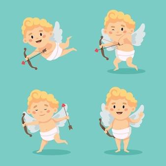 Lindo conjunto de caracteres de cupido aislado. ilustración de feliz día de san valentín en estilo de dibujos animados
