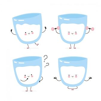 Lindo conjunto de caracteres de leche feliz colección. aislado en blanco diseño de ilustración de personaje de dibujos animados de vector, estilo plano simple. vaso de leche caminar, entrenar, pensar, meditar concepto