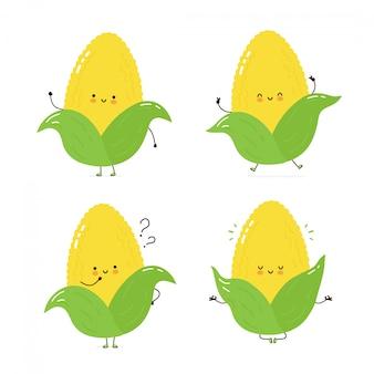 Lindo conjunto de caracteres de maíz feliz colección. aislado en blanco diseño de ilustración de personaje de dibujos animados de vector, estilo plano simple. maíz caminar, entrenar, pensar, meditar concepto