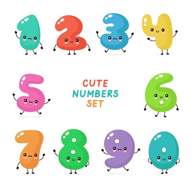 Lindo conjunto de caracteres de números felices sonrientes