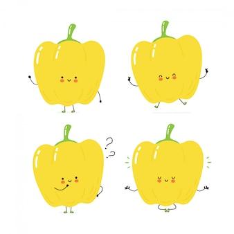Lindo conjunto de caracteres de pimiento feliz colección. aislado en blanco diseño de ilustración de personaje de dibujos animados de vector, estilo plano simple. concepto de caminar, entrenar, pensar, meditar pimiento