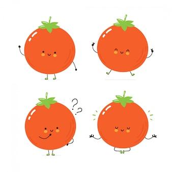 Lindo conjunto de caracteres de tomate feliz colección. aislado en blanco diseño de ilustración de personaje de dibujos animados de vector, estilo plano simple. tomate caminar, entrenar, pensar, meditar concepto