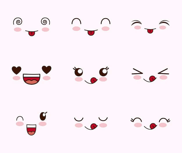 Lindo conjunto de caras kawaii