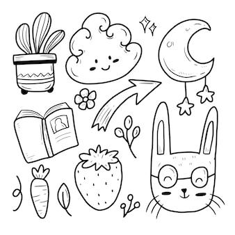 Lindo conjunto de colección de iconos de conejo y nube