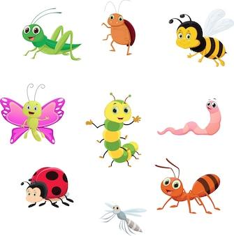Lindo conjunto de colección de insectos