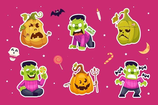 Lindo conjunto de colección de pegatinas de personajes de halloween