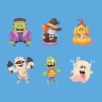 Lindo conjunto de colección de personajes de pegatinas de halloween