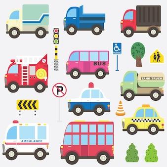 Lindo conjunto de colección de transporte