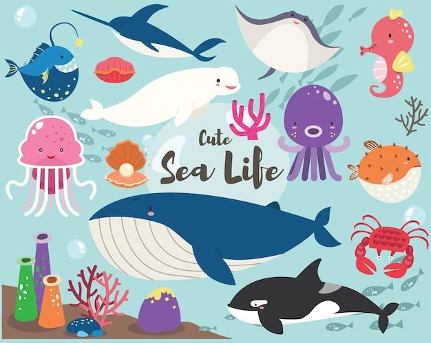Lindo conjunto de colección de vida marina