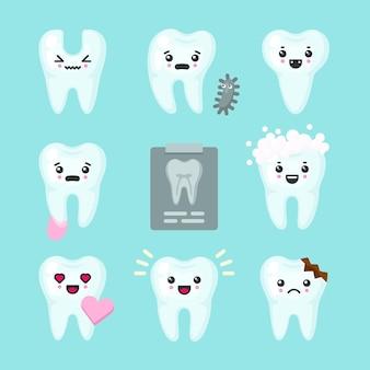 Lindo conjunto colorido de dientes con diferentes emociones.