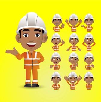 Lindo conjunto - conjunto de trabajador con diferentes emociones