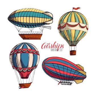Lindo conjunto de cuatro dirigibles vintage diferentes. ilustración dibujada a mano