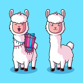 Lindo conjunto de dibujos animados de alpaca blanca