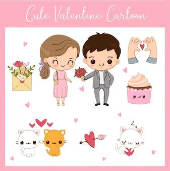 Lindo conjunto de dibujos animados de pareja y elementos de san valentín