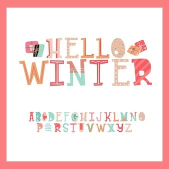 Lindo conjunto de diseño de estilo de tipografía de letra de regalo de navidad