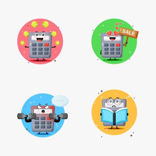 Lindo conjunto de diseño de mascota calculadora