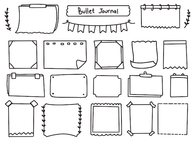 Lindo conjunto de doodle de notas y diario de balas
