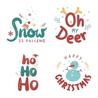Lindo conjunto de doodle de tipografía de saludo de navidad