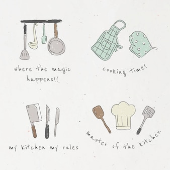 Lindo conjunto de doodle de utensilios de cocina