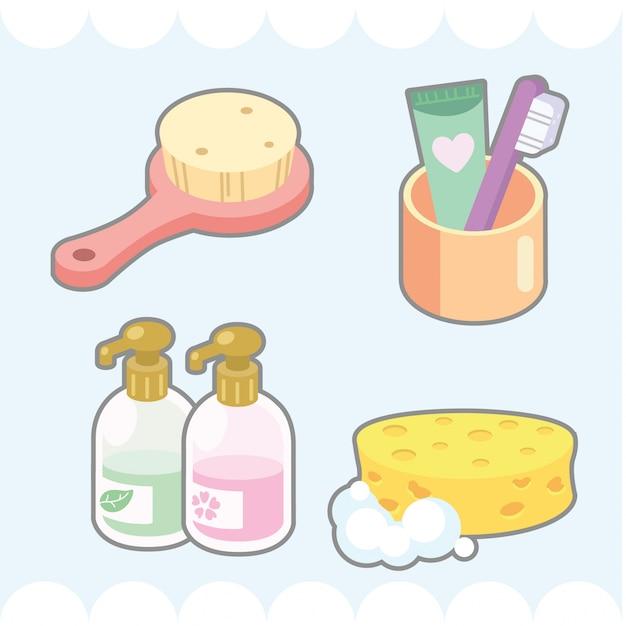 Lindo conjunto de elementos de baño